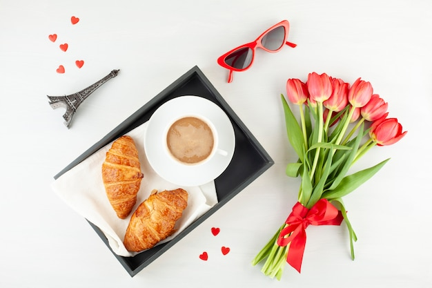 Flat lay with french style breakfast