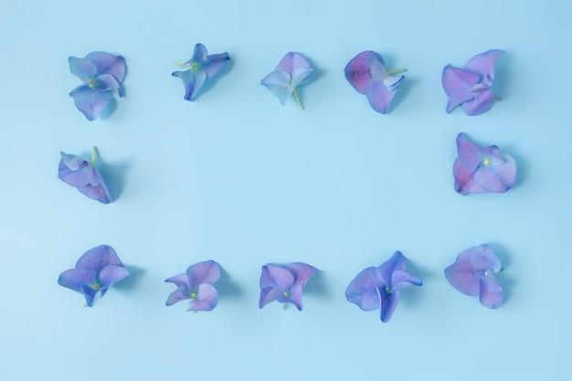 パステルブルーの表面にアジサイまたはオルテンシアの青紫色の花びらが付いたフラットレイ
