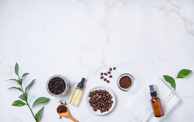 Flat lay with natural ingredients for home body coffee scrub oil