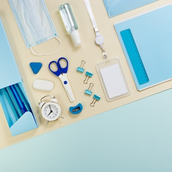 Flat lay with notebook and stationery for study and work