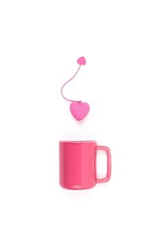 白い壁にピンクのティーマグと再利用可能なティーバッグを置いたフラットレイ