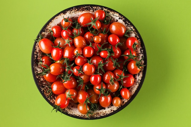 Flat lay with red tomatoes
