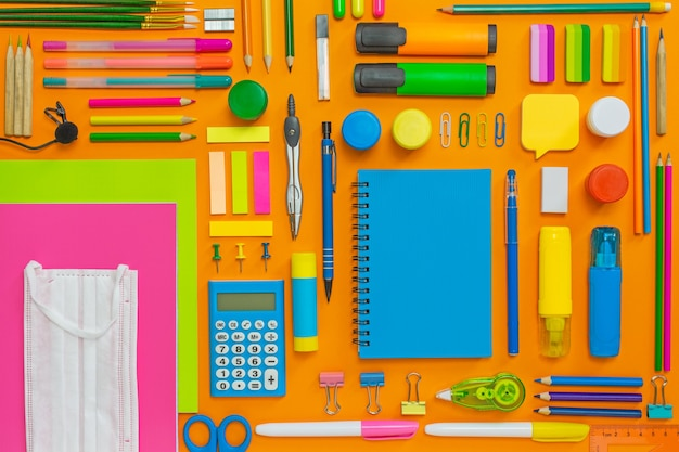 Flat lay with school supplies for school