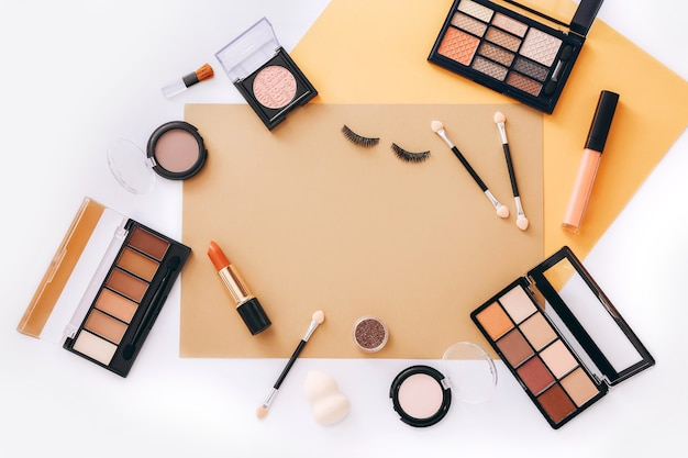 Flat lay with set of professional decorative cosmetics