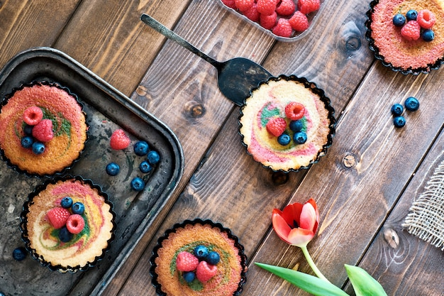 Flat lay with small parrotot cakes decorated with raspberry and blueberry on dark wood