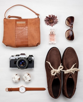 Flat lay with stylish femenine urban outfit