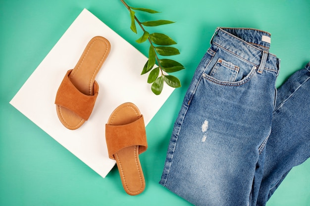 Flat lay with woman casual ourfit for spring summer season