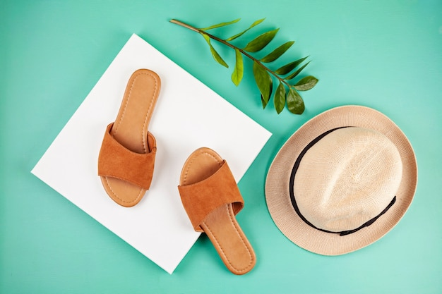 Flat lay with woman casual sandals for spring summer season
