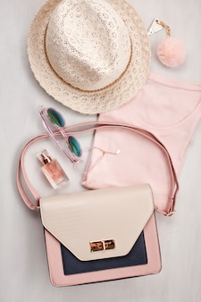 Flat lay with women accessories. fashion and shopping concept