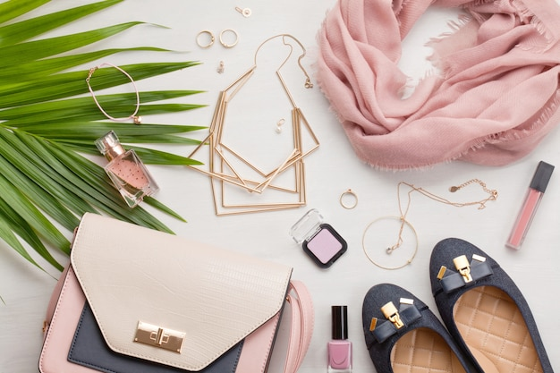 Flat lay with women accessories
