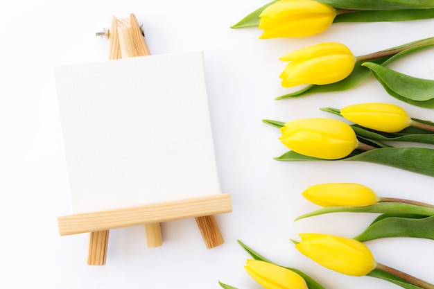 Flat lay with yellow tulip flowers and empty picture frame on white background.