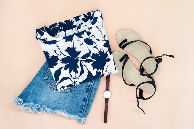Flat lay of woman clothes and accessories