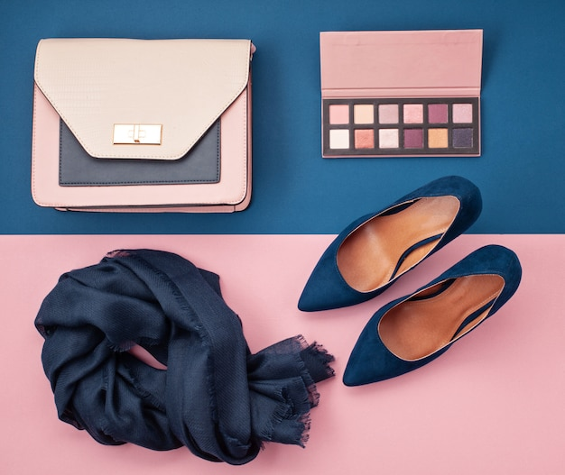 Flat lay of women accessories.