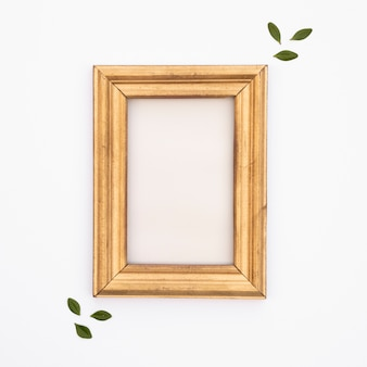 Flat lay wooden frame with white background