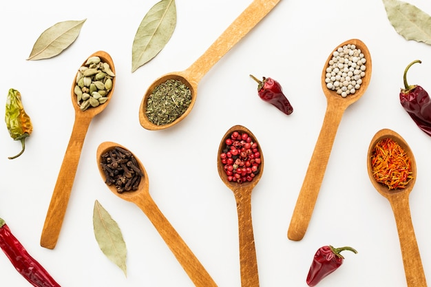 Flat lay wooden spoons with variety of spices