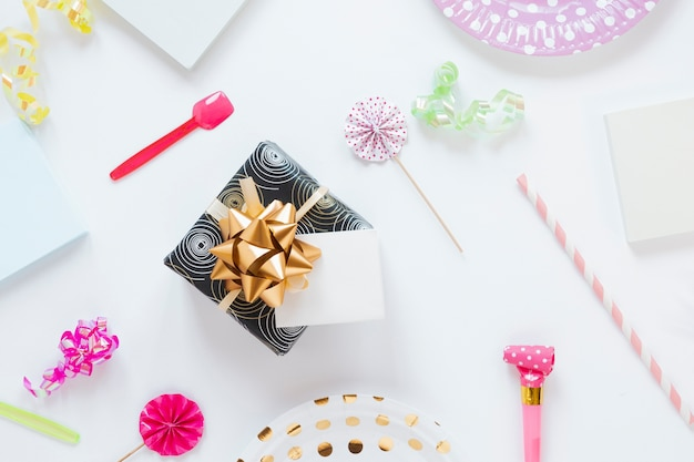 Flat lay wrapped birthday present