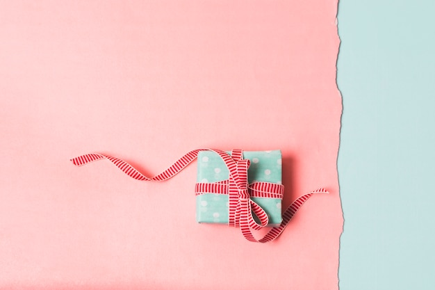 Flat lay of wrapped gift