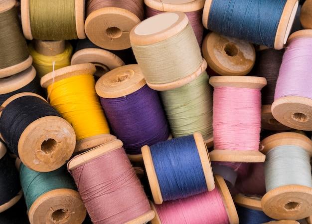 Flat lay of yarn spools