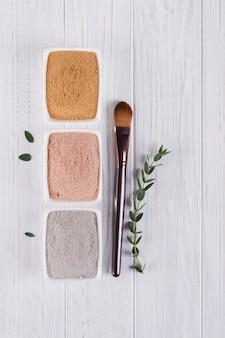 Концепция красоты. flat lay, различные глиняные порошки грязи натуральные ингредиенты для домашней маски для лица и тела или скраб