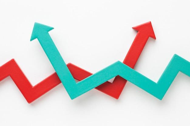 矢印付きのフラットな統計表示