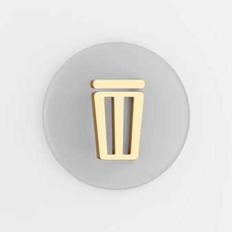 Flat outline golden trash bin icon. 3d rendering round gray key button, interface ui ux element.