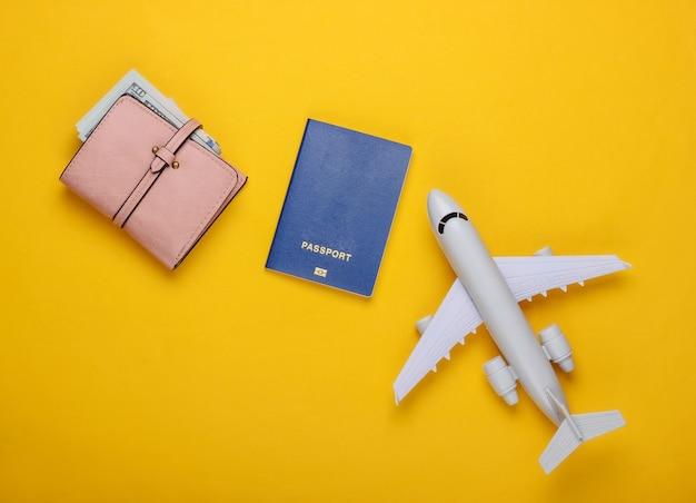 Flat plane figurine, passport, wallet with dollars.