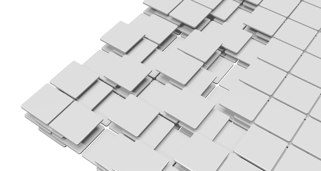 湾曲した角を持つ平らな長方形のプレートマットな白い背景の上に層状に積み重ねられた