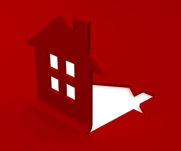 平らな赤い家のロゴの3 dレンダリング