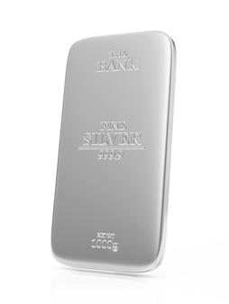 Плоский серебряный слиток, изолированные на белом фоне