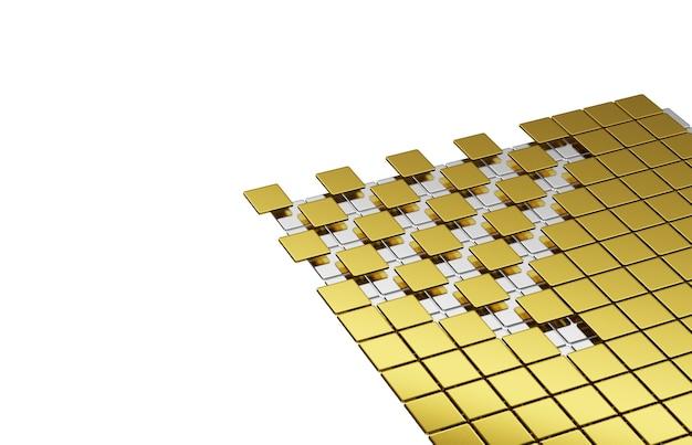 平らな正方形と金色の弧の角銀は層状に積み重ねられています。白い背景に