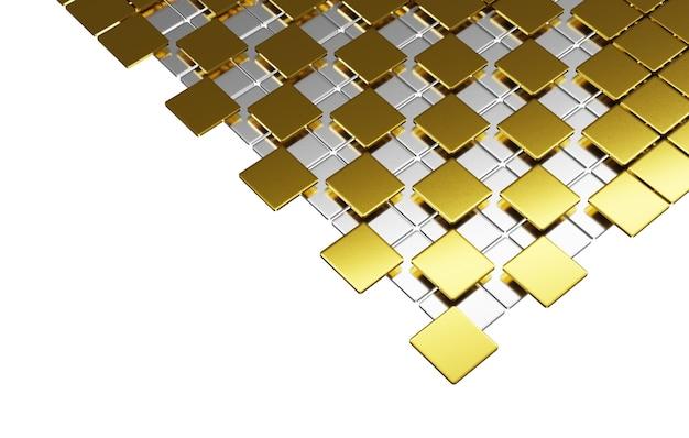 グラフィックデザインのために、平らな正方形と光沢のある金色の曲線が白い背景に重ねられています。