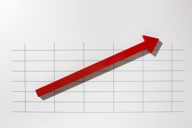 Piatto di presentazione delle statistiche con freccia