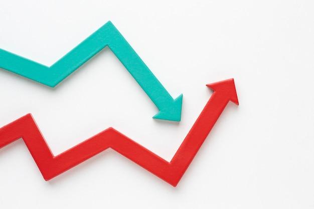 Flat of statistics presentation with arrows