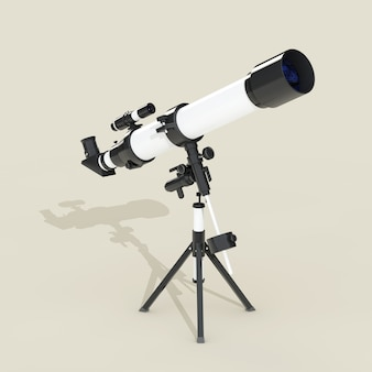Flat telescope with long hard shadow on a grey background. 3d rendering