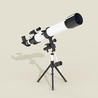 灰色の背景に長いハードシャドウを持つフラット望遠鏡。 3dレンダリング