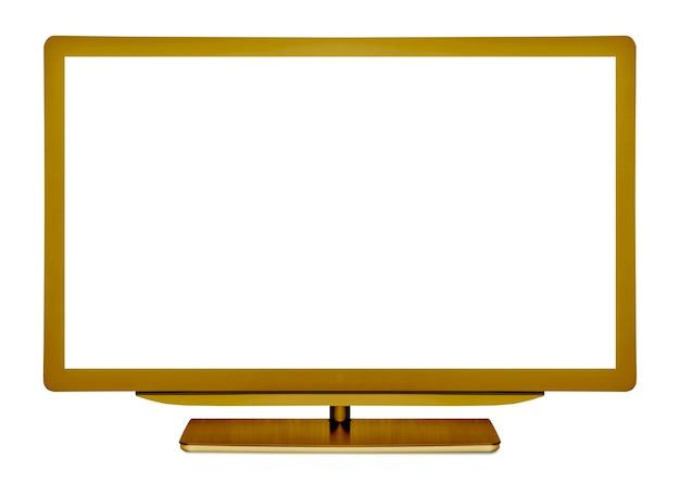 白い背景の上のフラットテレビ