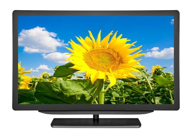 Плоский телевизор на белом фоне