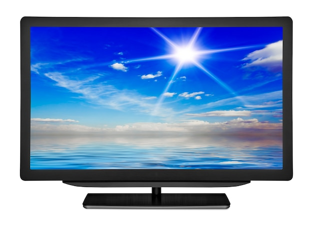 Flat television on the white backgrounds