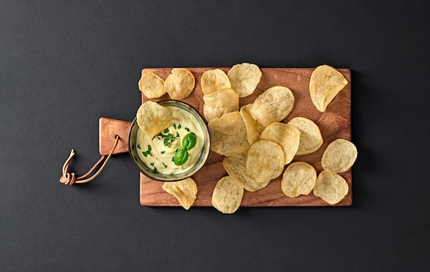 Flat top view potatoes chips