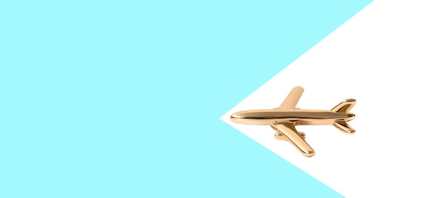 Flat travel concept design with a plane on a blue and white background with copy space.