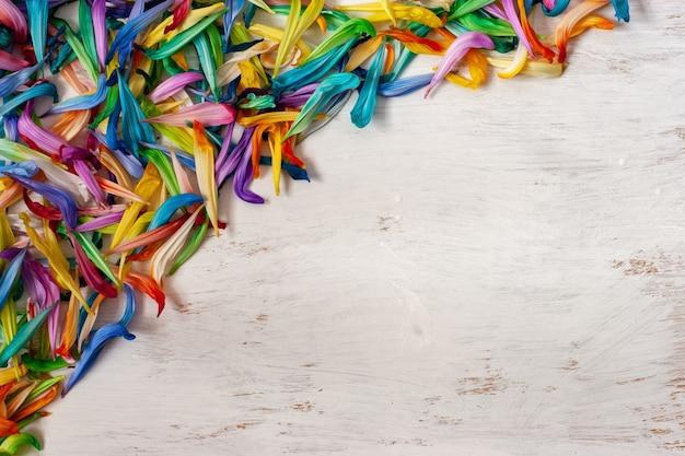 Плоский вид. красочный фон из старых лепестков цветов, лежащих на доске, окрашенной в белый цвет, с местом для текста. белый фон, зеленый, красный, синий, желтый цвета лепестков. для подарочных карт для женщин.