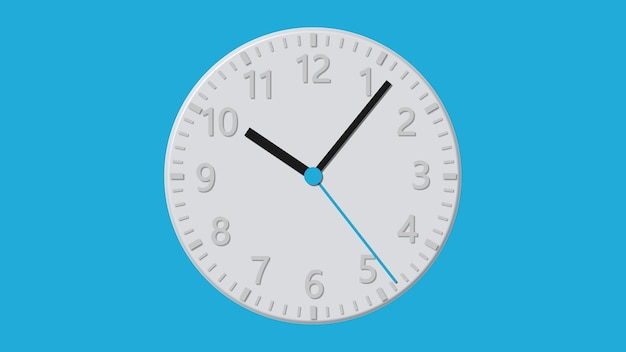 Flat white wall clock on a blue background