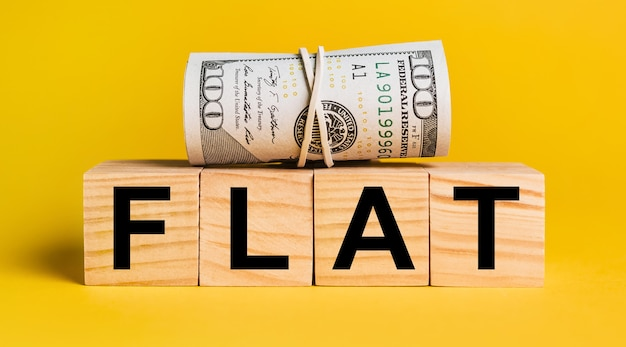 Flat with money on a yellow background. the concept of business, finance, credit, income, savings, investments, exchange, tax