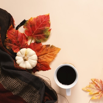 Flatl lay style of autumn and thanksgiving with pumpkin
