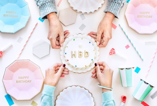 Flatlay of birthday celebration party concept