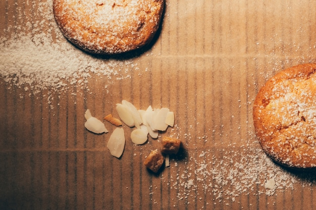 Flatlay biscuits with nuts and candied fruit