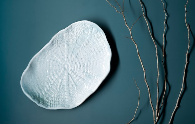 Композиция flatlay в японско-азиатском стиле с засушенными ветками и фаянсовой глиняной тарелкой ручной работы