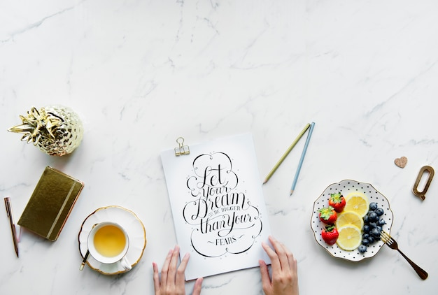 Flatlay copy space and vintage cliche inspirational text