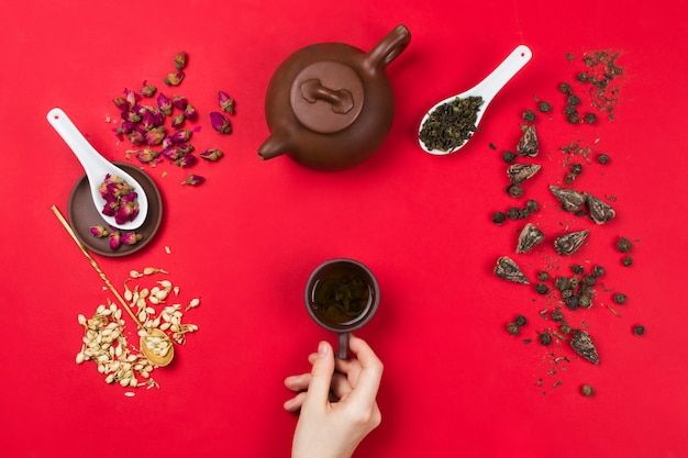 Flatlay frame arrangement with chinese green tea leaves, rose buds, jasmine flowers, tea pot and woman's hands holding tea cup. red background