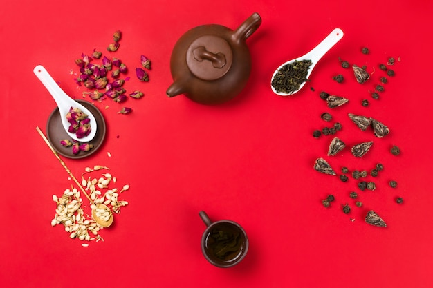 中国の緑茶、バラのつぼみ、ジャスミンの花、乾燥した茶葉のフラットレイフレームアレンジ。赤の背景。コピースペース